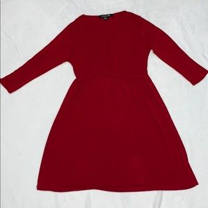 Ruby Red Midi Dress Forever 21 Medium Fit & Flare